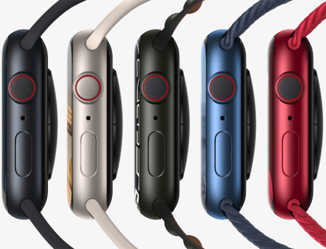 Apple Watch Series 7 unveils five brand new aluminum case colors, including midnight, starlight, green, and a new blue and (PRODUCT)RED.