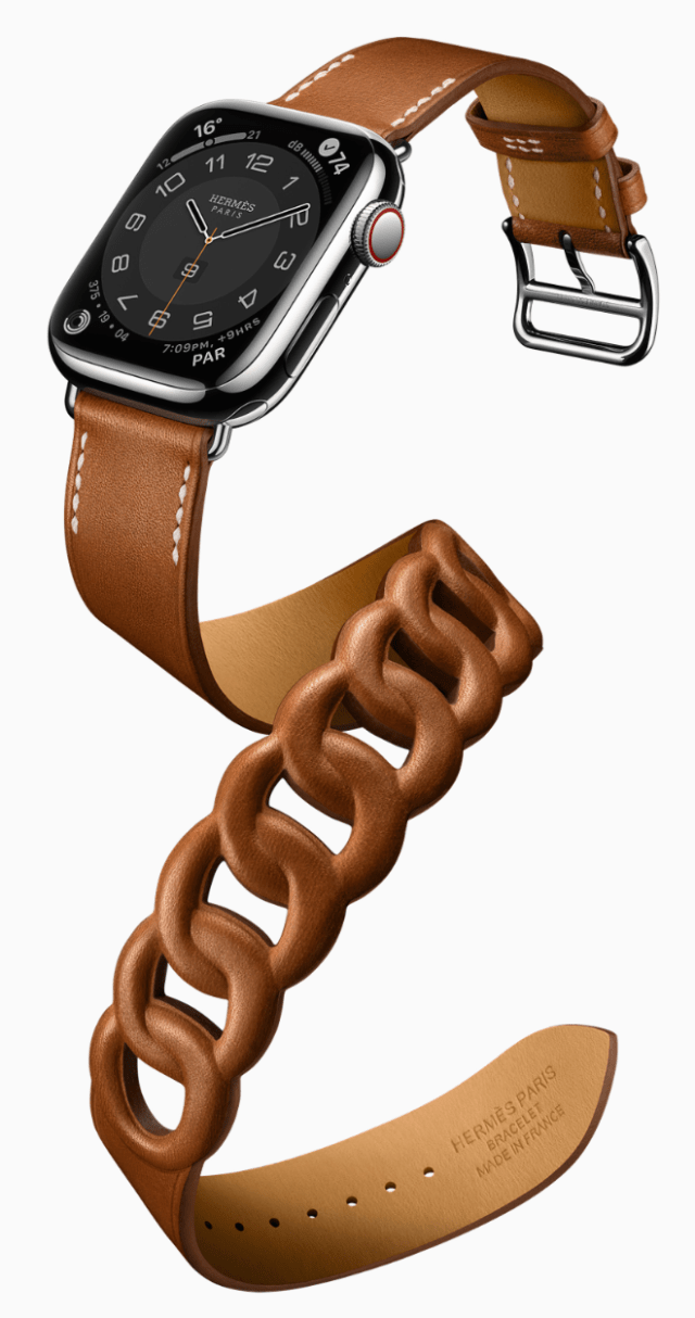 The Apple Watch Hermès Gourmette Double Tour pays homage to 1930s Hermès collars, with links weaving fluidly together in supple Fauve Barénia leather.