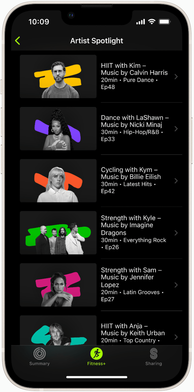 New Artist Spotlight series workouts will be available on September 27, featuring the music of Billie Eilish, Calvin Harris, Imagine Dragons, and Nicki Minaj.