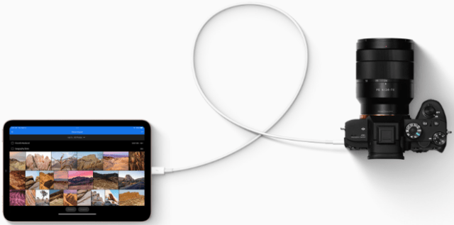 USB-C on iPad mini connects a vast ecosystem of accessories, including cameras and external storage and displays up to 4K.