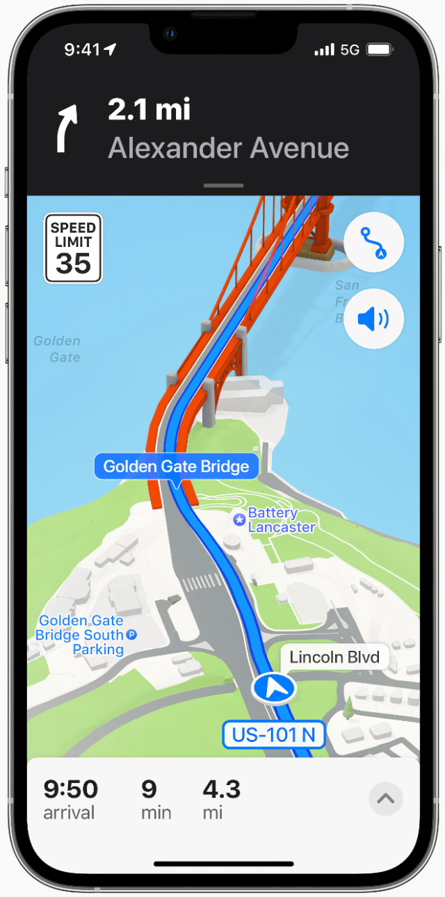 iPhone 13 Pro using the updated Weather app on iOS 15. Weather has an all-new design with full-screen maps, graphical displays of weather data, and dynamic layouts that change based on conditions.
