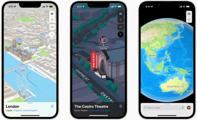 Apple Maps features a three-dimensional city experience with more realistic and colorful details, and an interactive globe that offers a new way of looking at the world.