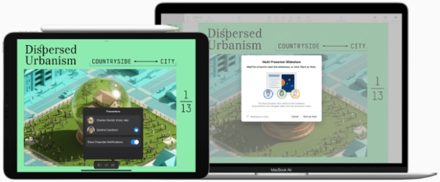 Presenting as a group is easier than ever with new multi-presenter slideshows in Keynote.