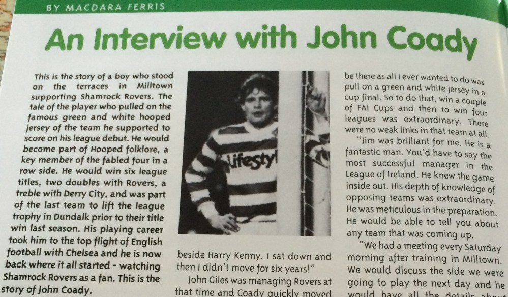 From fan to player to fan - Interview with four in a row winner John Coady (1/3)