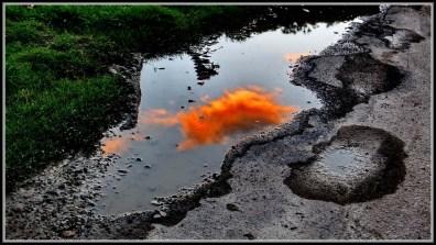 sunset puddle