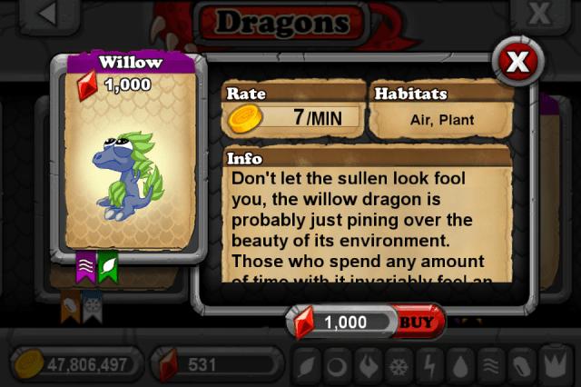 DragonVale WILLOW Dragon
