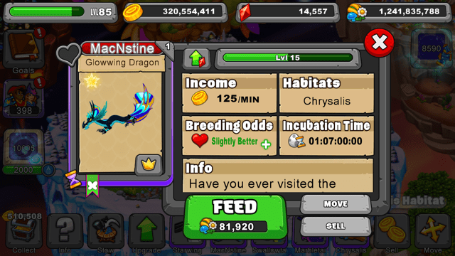 Dragonvale Glowwing Dragon