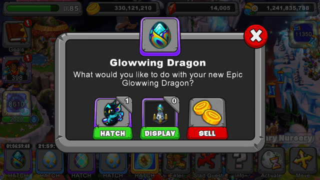 Dragonvale Glowwing Dragon Egg