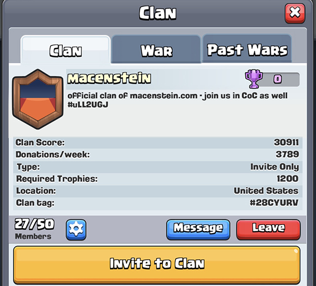 Do you play Clash Royale Then Join Clan Macenstein