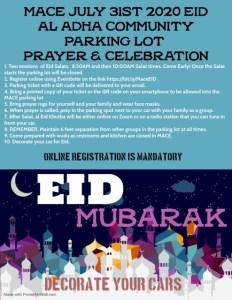 Eid Prayers @ MACE Parking Lot