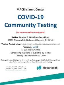COVID-19 Community Testing @ MACE Islamic Center