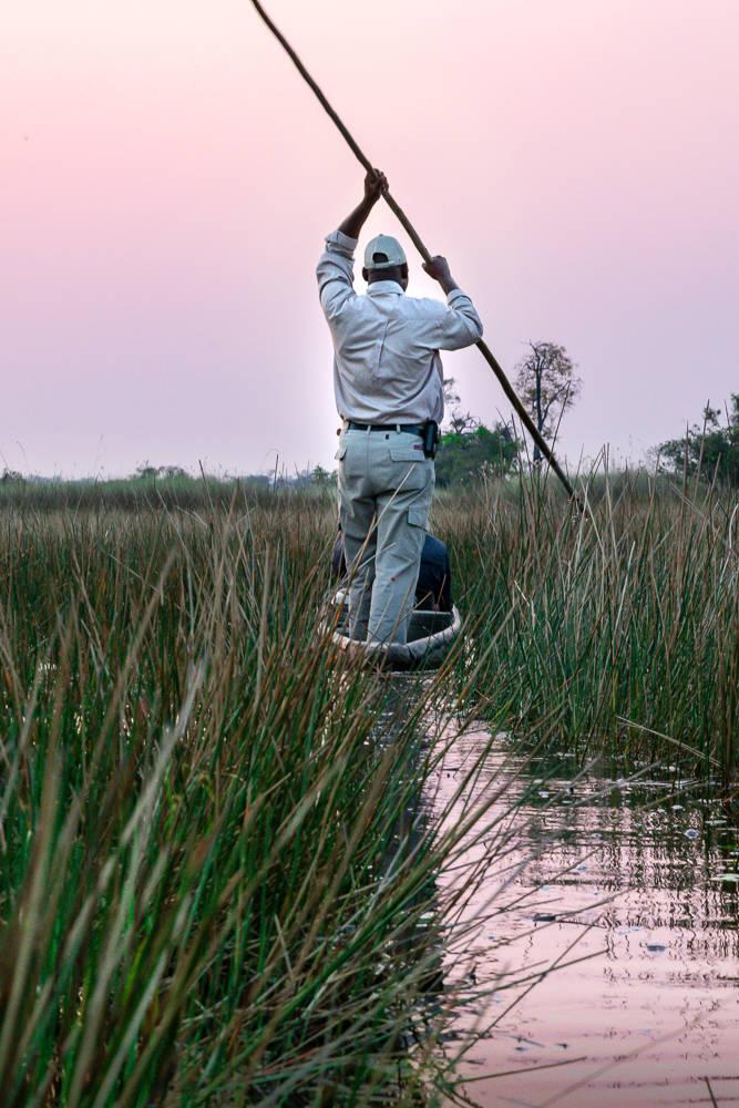Botswana long pole canoe