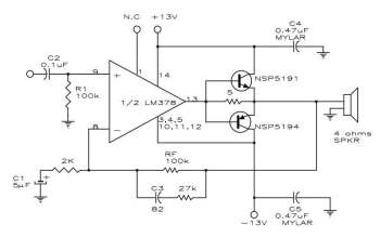 Mạch khuếch đại âm thanh 12W có độ méo thấp