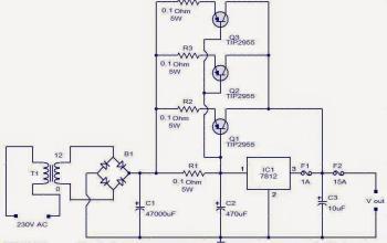 Ổn áp công suất lớn dùng IC họ 78xx