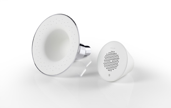 It measures 4.18 by 5 inches (HW), and comes in either a white or polished chrome finish. The sprayface is made of a white, soft silicone. It's a simple design that should look good in most showers. The Moxie is a single-function showerhead, which means it only has one spray setting, and comes in either 2.0 or 2.5 gpm models. You can't buy the showerhead alone, but a similar showerhead from Kohler will cost you around $75. It includes one Showerhead,Speaker and USB Cable. It has a magnetic design, and pops in and out of the showerhead for easy recharging via the included USB cable. And also a water-proof speaker it is super easy to clean. The showerface and the speaker they both are made of with soft silicon, and that makes it super easy to clean them.