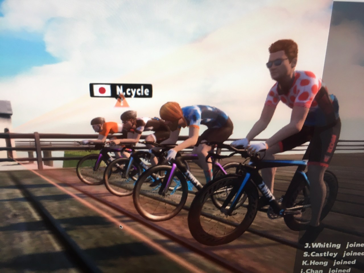 Zwift race starting line waiting for users