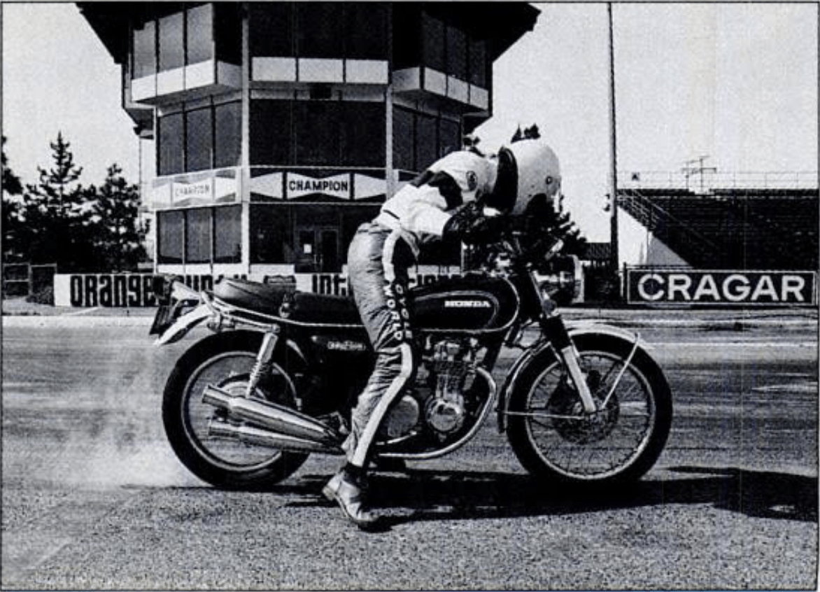In 1974, Cycle World Senior Editor D. Randy Riggs prepares to launch the Honda CB550 at the now defunct Orange County International Speedway