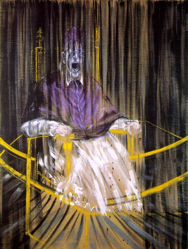 "Study after Velazquez's Portrait of Pope Innocent X"", 1953, olej na płótnie, 153x118, Des Moines Art Center, Des Moines, Iowa. Źródło: http://www.ibiblio.org/wm/paint/auth/bacon/innocent.jpg"