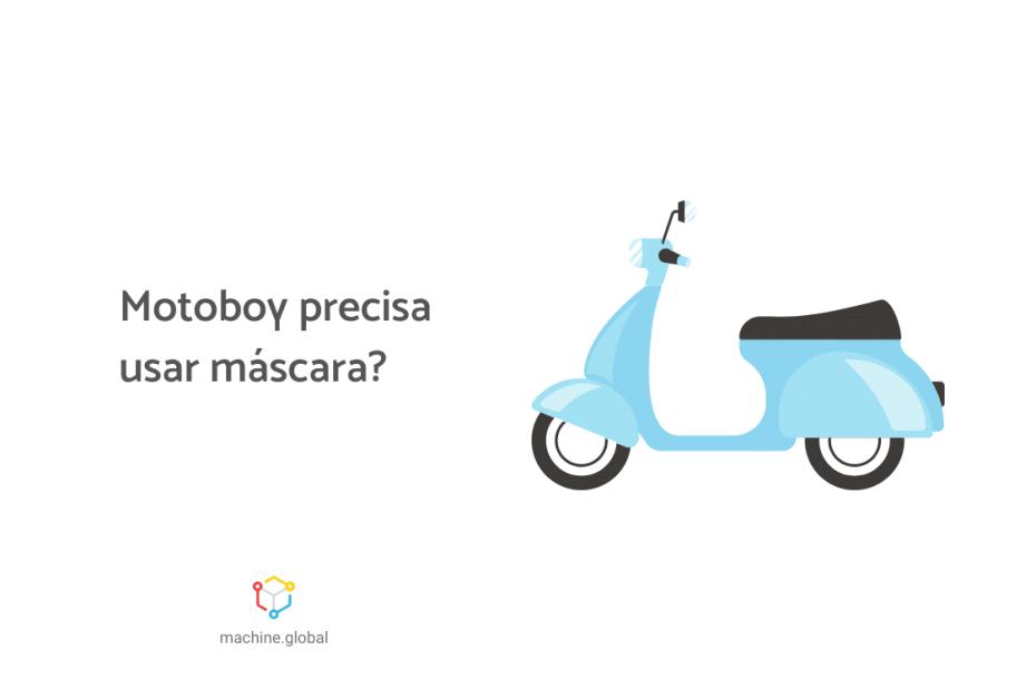 Ilustração de uma moto azul, ao lado está escrito, Uber Rewards: Motoboy precisa usar máscara?