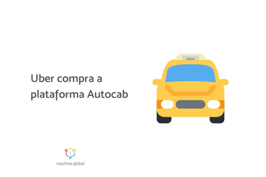 Ilustração de um táxi, ao lado está escrito: uber compra a plataforma autocab
