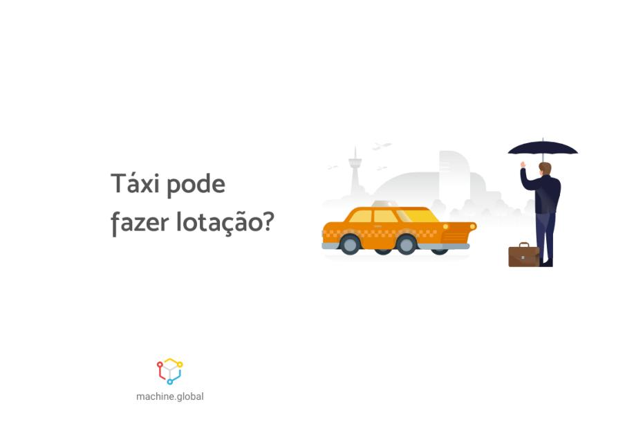 """Ilustração de uma pessoa chamando um táxi, ela carrega um guarda-chuva, ao lado está escrito """"táxi pode fazer lotação?"""""""