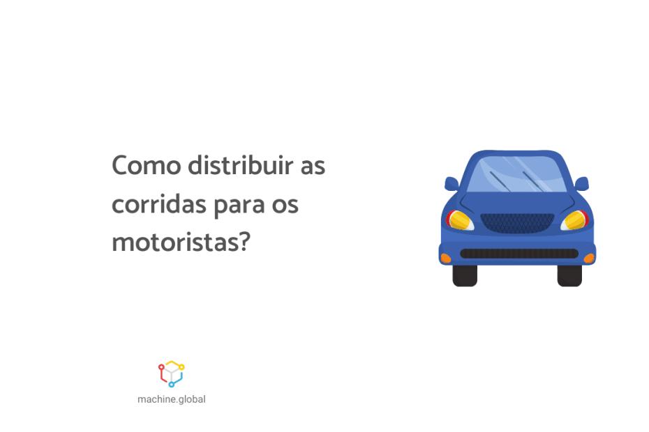 """Ilustração de um veículo azul, ao lado está escrito """"como distribuir as corridas para os motoristas?"""""""