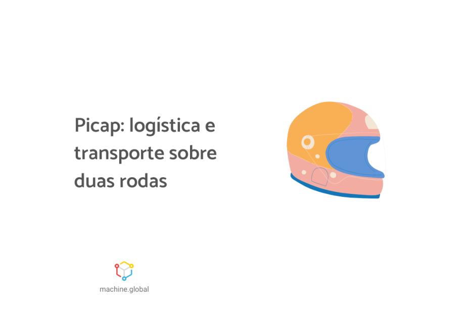 """Ilustração de um capacete, ao lado está escrito """"Picap: logística e transporte sobre duas rodas""""."""