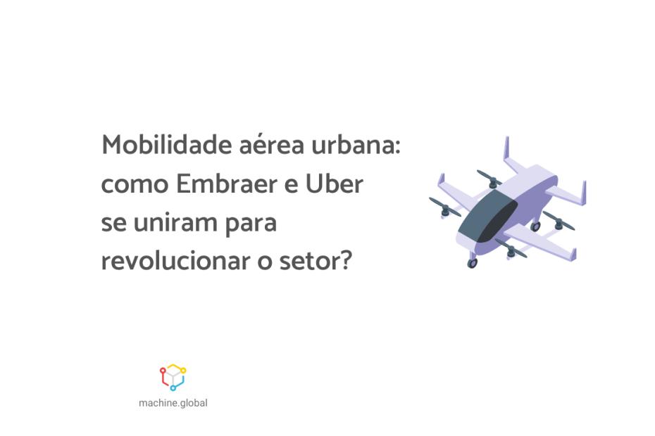 """Ilustração de um veículo voador. Ao lado está escrito """"Mobilidade aérea urbana: como Embraer e Uber se uniram para revolucionar o setor?"""""""