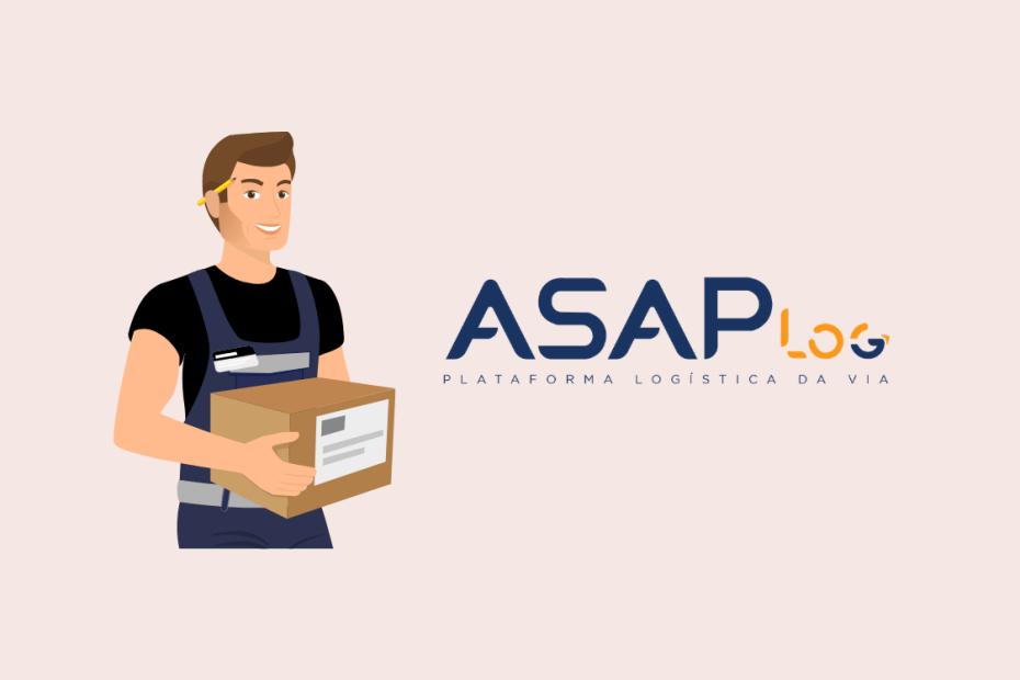 Entregador ao lado da logo da Asap Log