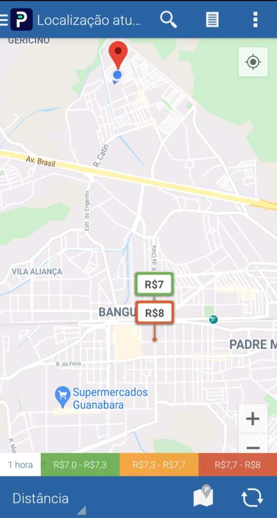 Mapa do app Parkopédia