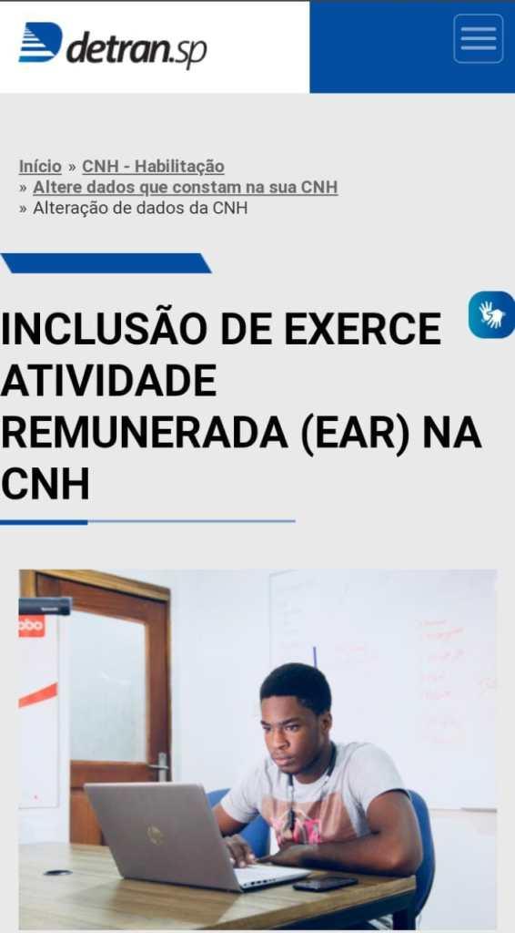 Site do Detran de São Paulo para a emissão do CNH com EAR