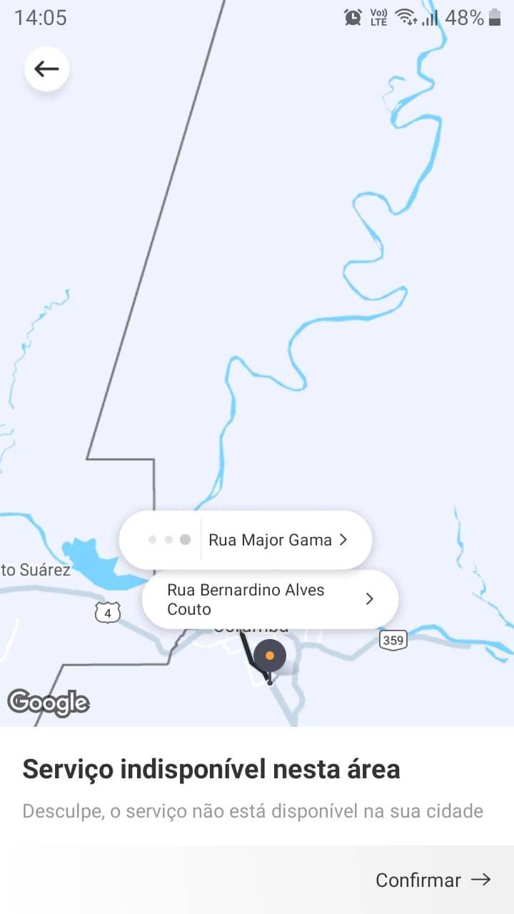 Captura de tela do Google Maps demonstrando a forma de encontrar as cidades atendidas pela 99