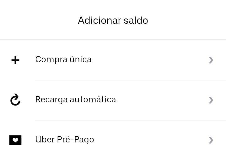 Captura de tela do Uber Cash