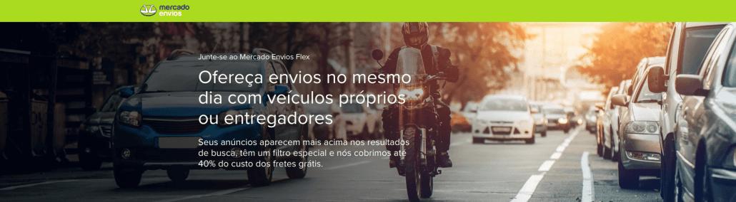 Site do Mercado Envios Flex