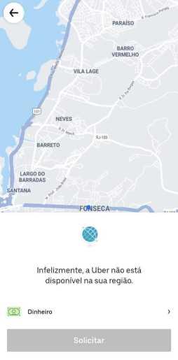 Captura de tela do aplicativo da Uber