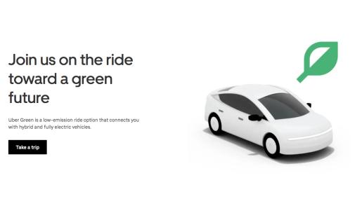 Captura de tela da página da Uber Green. Temos um veículo ao lado de uma ilustração de folha. Temos também uma breve descrição da categoria em inglês.