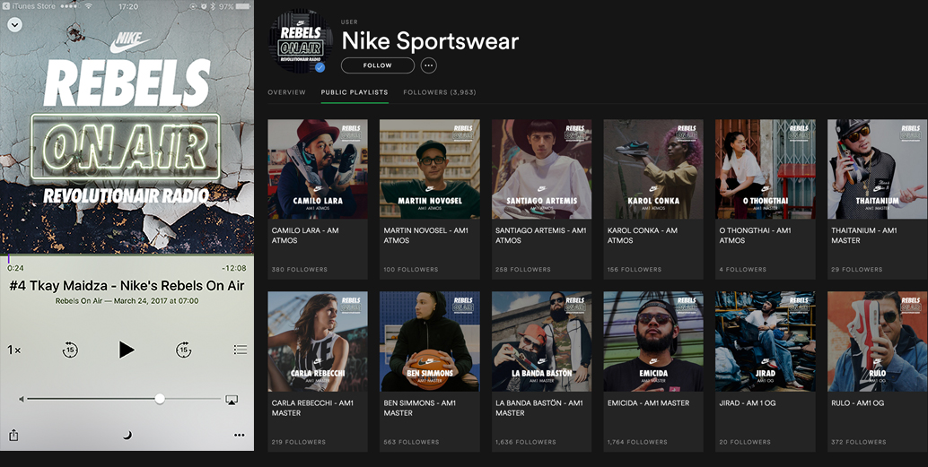 NIKE Rebels On Air Revolutionair Radio by Machineast Singapore design studio. This design is for Spotify.