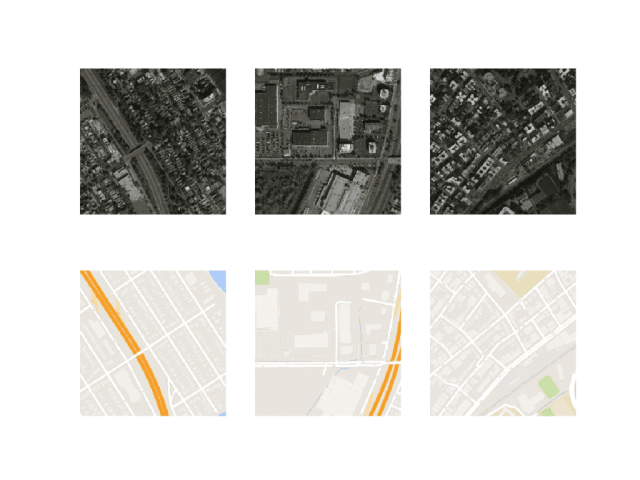 Plot of Three Image Pairs Showing Satellite Images (top) and Google Map Images (bottom).