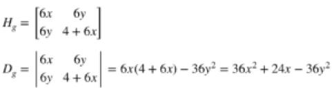 Hessian and discriminant of g(x, y) = x^3 + 2y^2 + 3xy^2