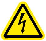 Yellow triangular background with a black triangular border and a stylized black lighting-flash arrow travelling from top to bottom.