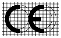Proportional drawing showing design of EU CE Mark graphic