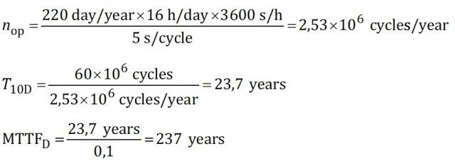 Example C.4.3 calculations from, ISO 13849-1.