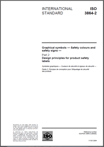 Safety label standard ISO 3864-2 Graphical symbols - Safety colours and safety signs - Part 2: Design principles for product safety labels.