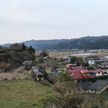 戸津辺の桜の下を走る水郡線(東舘・男性)