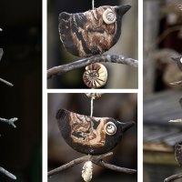 Keramik - Vögel auf Treibholz - Windspiel
