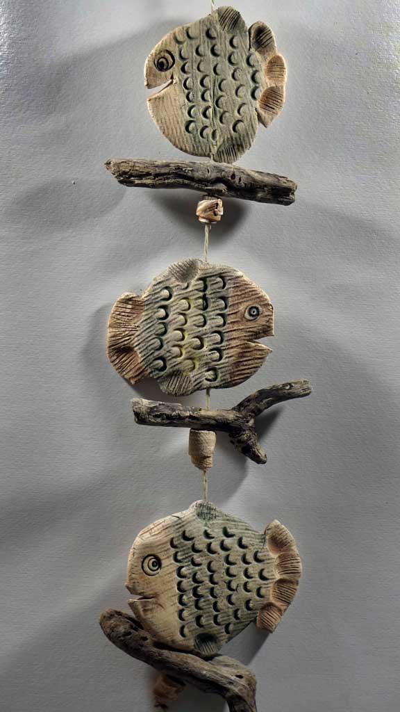 Fensterkette Treibholz Keramik Fische