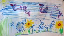 Auf dem Weg zum Zenzinger: Gänse, Schaf, Pferd und Kuh
