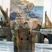 Pass ja auf! Keramik, Katze, Vogel, Altholz