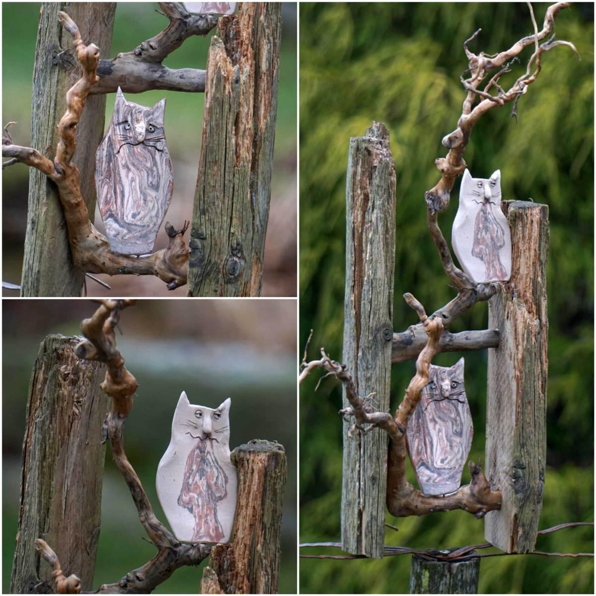 Maisonette für Katzen - Keramik auf Altholz