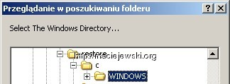 Potrzebny cały katlog `Windows` aby zadziałało